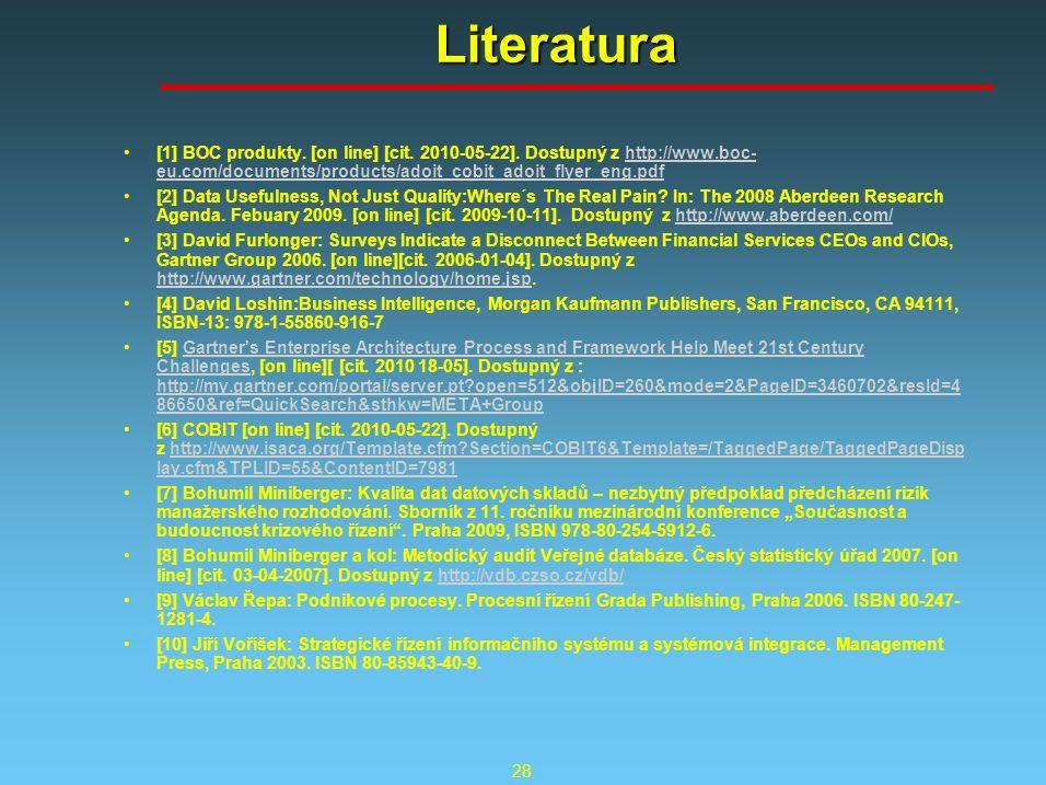 28 Literatura [1] BOC produkty. [on line] [cit. 2010-05-22]. Dostupný z http://www.boc- eu.com/documents/products/adoit_cobit_adoit_flyer_eng.pdfhttp: