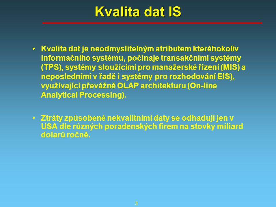 3 Kvalita dat IS Kvalita dat je neodmyslitelným atributem kteréhokoliv informačního systému, počínaje transakčními systémy (TPS), systémy sloužícími pro manažerské řízení (MIS) a neposledními v řadě i systémy pro rozhodování EIS), využívající převážně OLAP architekturu (On-line Analytical Processing).
