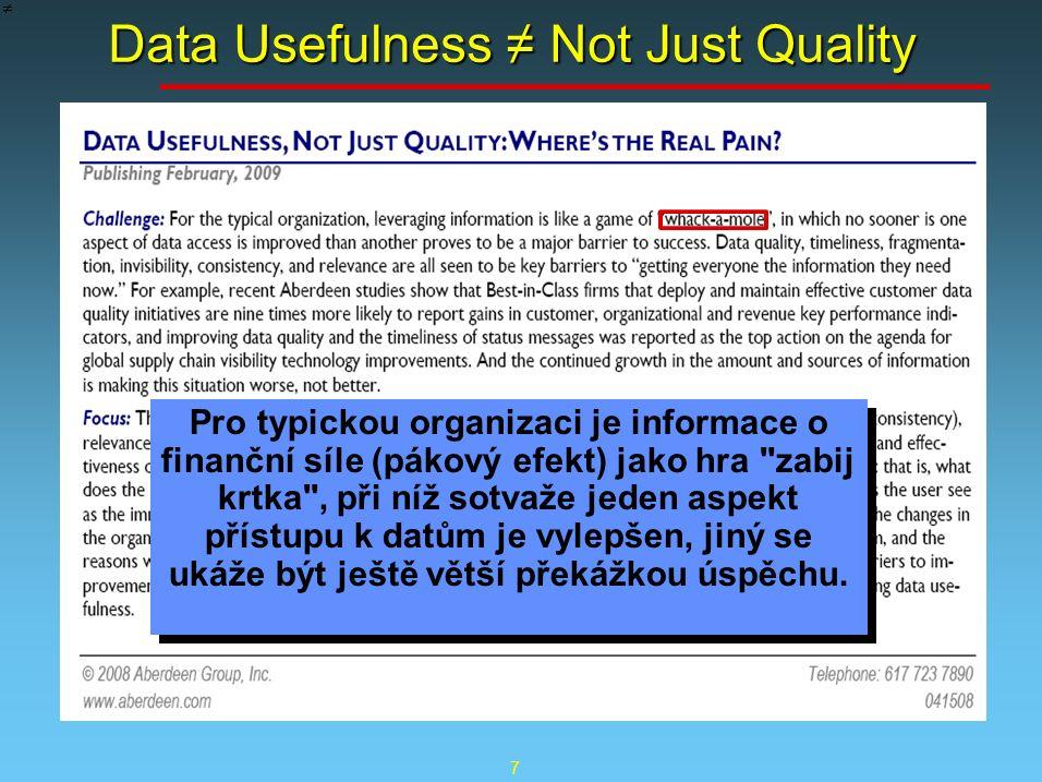 7 Data Usefulness ≠ Not Just Quality Pro typickou organizaci je informace o finanční síle (pákový efekt) jako hra