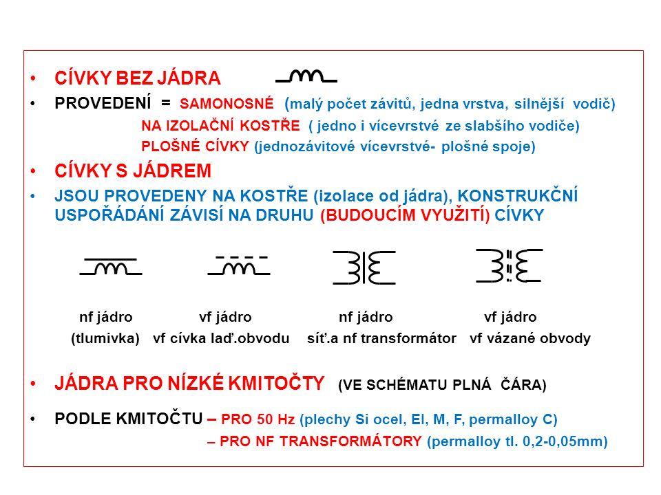 CÍVKY BEZ JÁDRA PROVEDENÍ = SAMONOSNÉ ( malý počet závitů, jedna vrstva, silnější vodič) NA IZOLAČNÍ KOSTŘE ( jedno i vícevrstvé ze slabšího vodiče) P