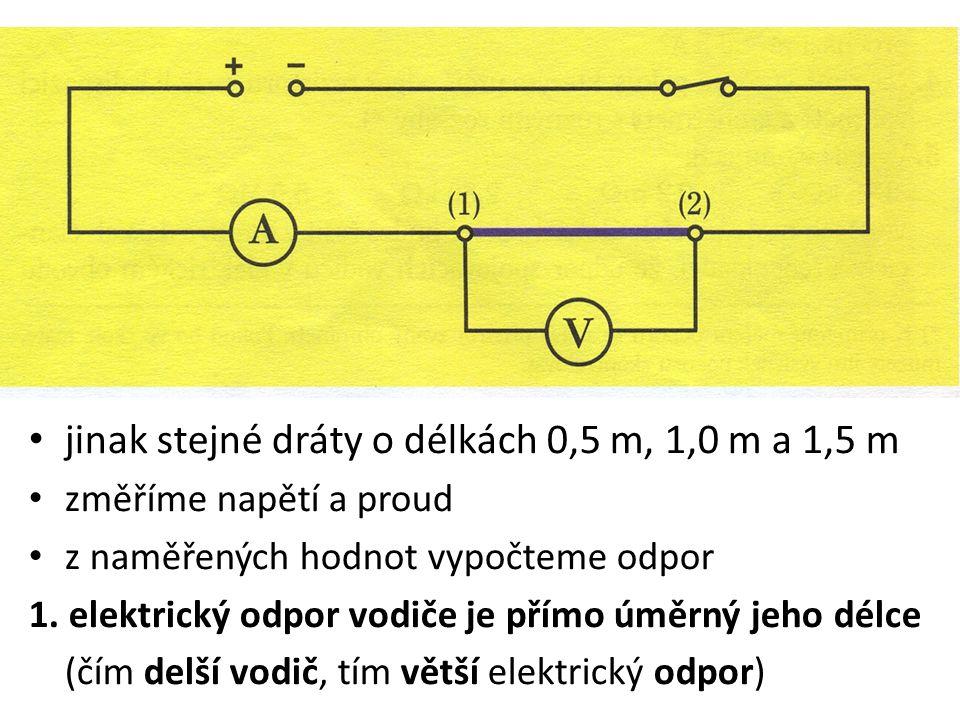 jinak stejné dráty o délkách 0,5 m, 1,0 m a 1,5 m změříme napětí a proud z naměřených hodnot vypočteme odpor 1.