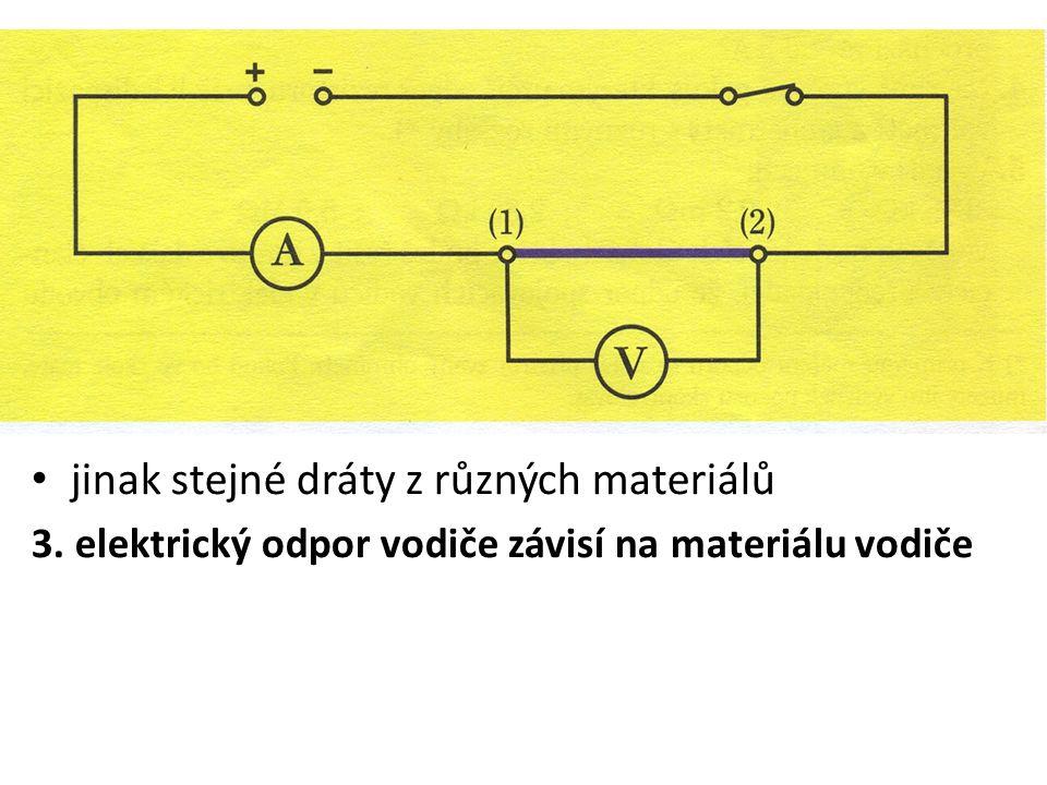 jinak stejné dráty z různých materiálů 3. elektrický odpor vodiče závisí na materiálu vodiče