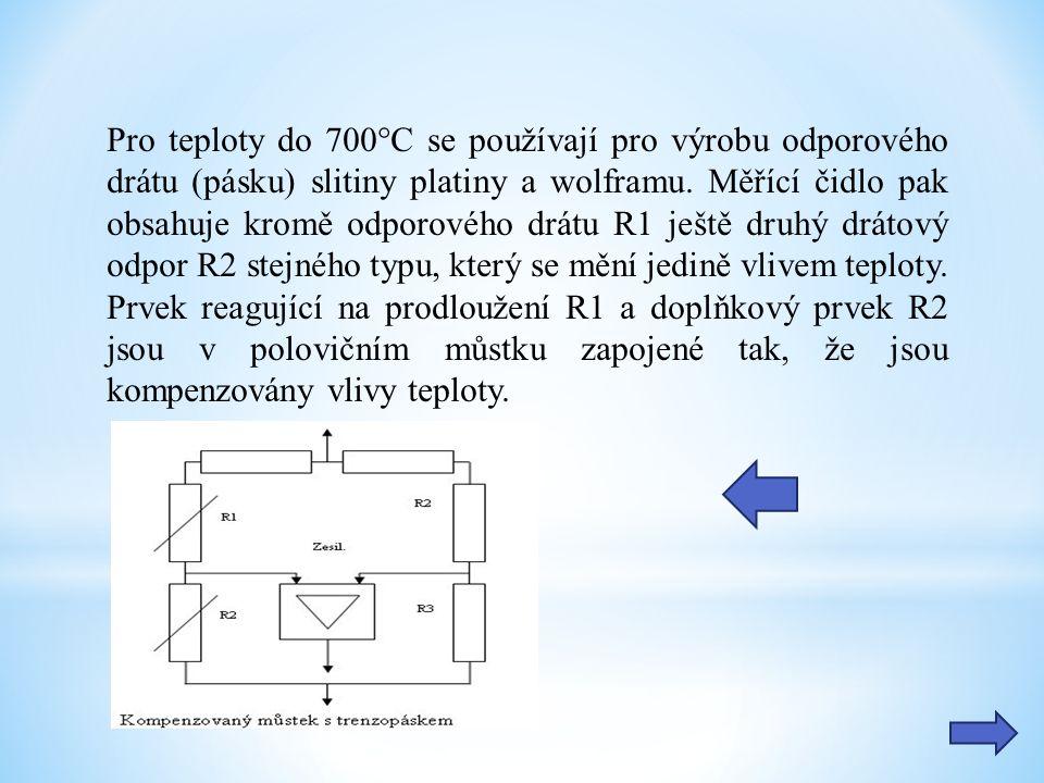 Pro teploty do 700°C se používají pro výrobu odporového drátu (pásku) slitiny platiny a wolframu.