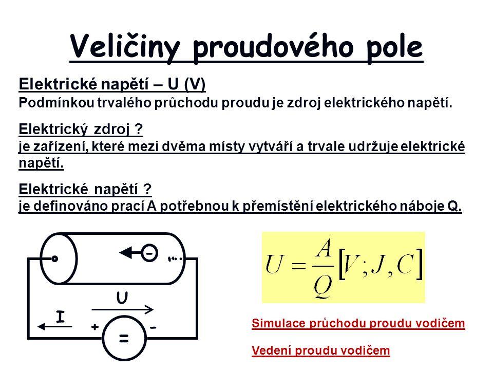 Veličiny proudového pole Elektrické napětí – U (V) Podmínkou trvalého průchodu proudu je zdroj elektrického napětí.