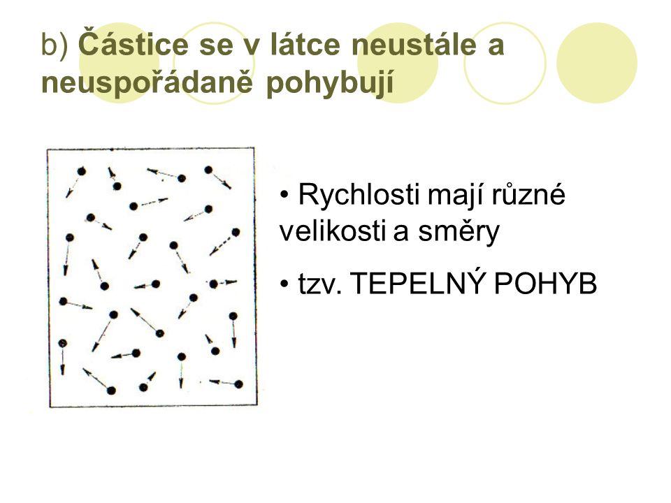 b) Částice se v látce neustále a neuspořádaně pohybují Rychlosti mají různé velikosti a směry tzv.