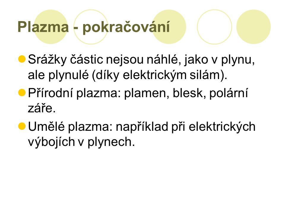 Plazma - pokračování Srážky částic nejsou náhlé, jako v plynu, ale plynulé (díky elektrickým silám).
