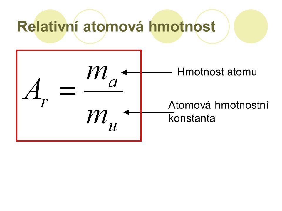Relativní atomová hmotnost Hmotnost atomu Atomová hmotnostní konstanta