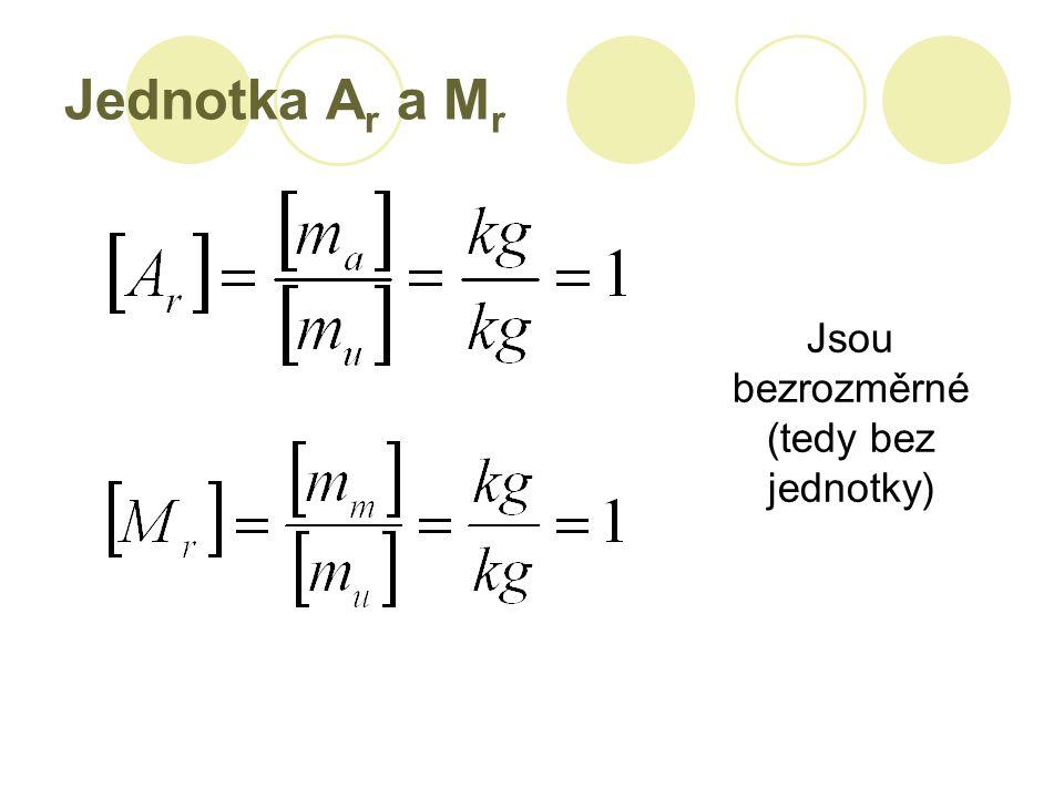 Jednotka A r a M r Jsou bezrozměrné (tedy bez jednotky)