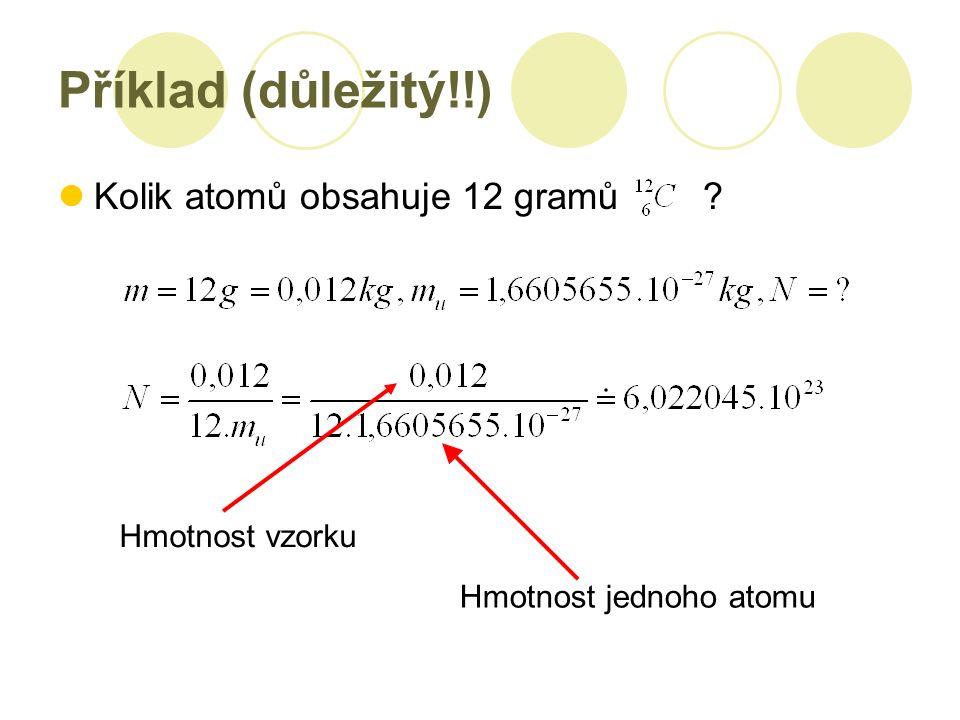 Příklad (důležitý!!) Kolik atomů obsahuje 12 gramů ? Hmotnost vzorku Hmotnost jednoho atomu