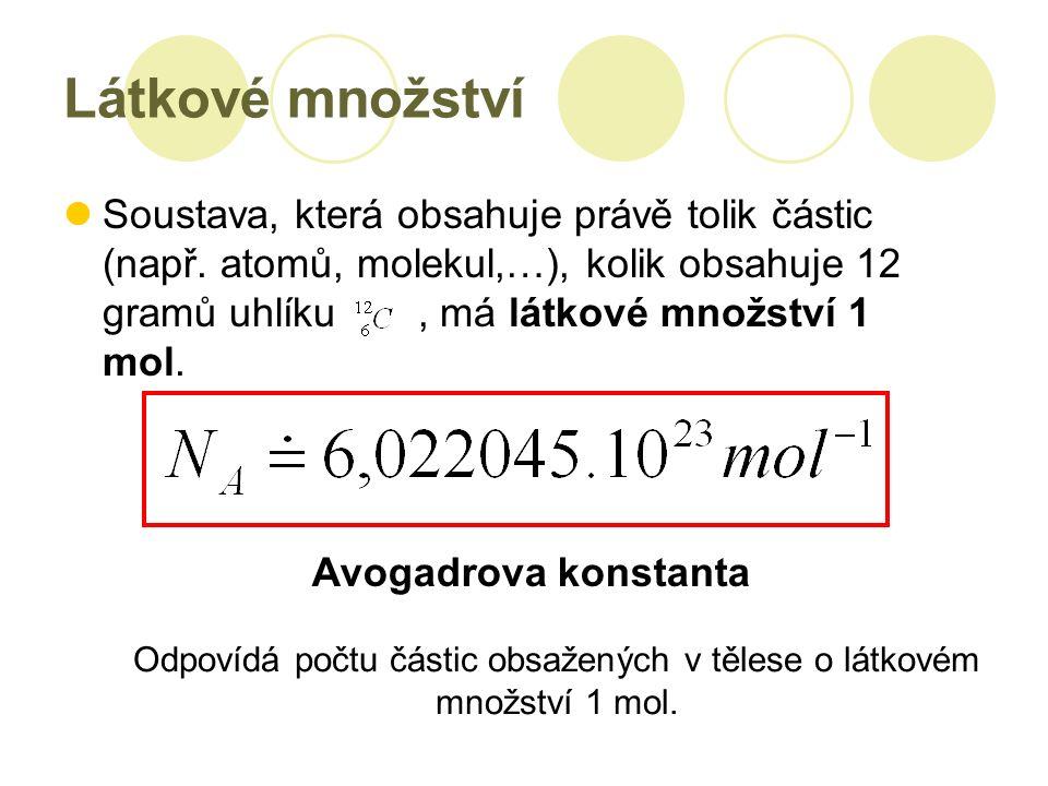 Látkové množství Soustava, která obsahuje právě tolik částic (např.