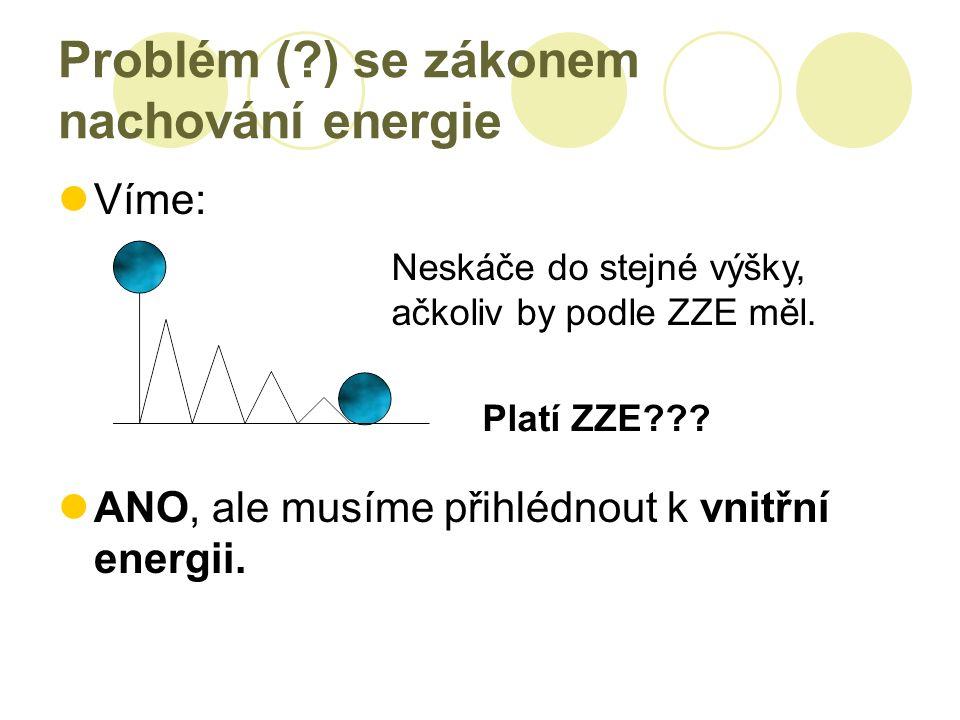 Problém (?) se zákonem nachování energie Víme: ANO, ale musíme přihlédnout k vnitřní energii.