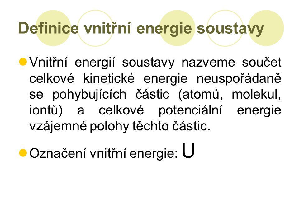 Definice vnitřní energie soustavy Vnitřní energií soustavy nazveme součet celkové kinetické energie neuspořádaně se pohybujících částic (atomů, molekul, iontů) a celkové potenciální energie vzájemné polohy těchto částic.