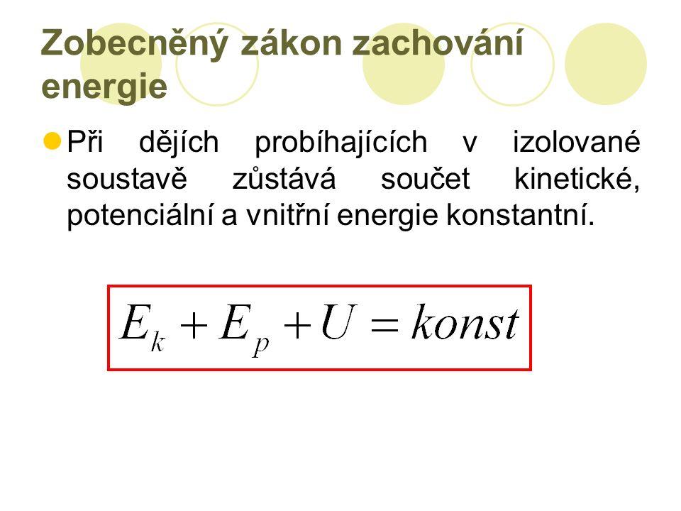 Zobecněný zákon zachování energie Při dějích probíhajících v izolované soustavě zůstává součet kinetické, potenciální a vnitřní energie konstantní.