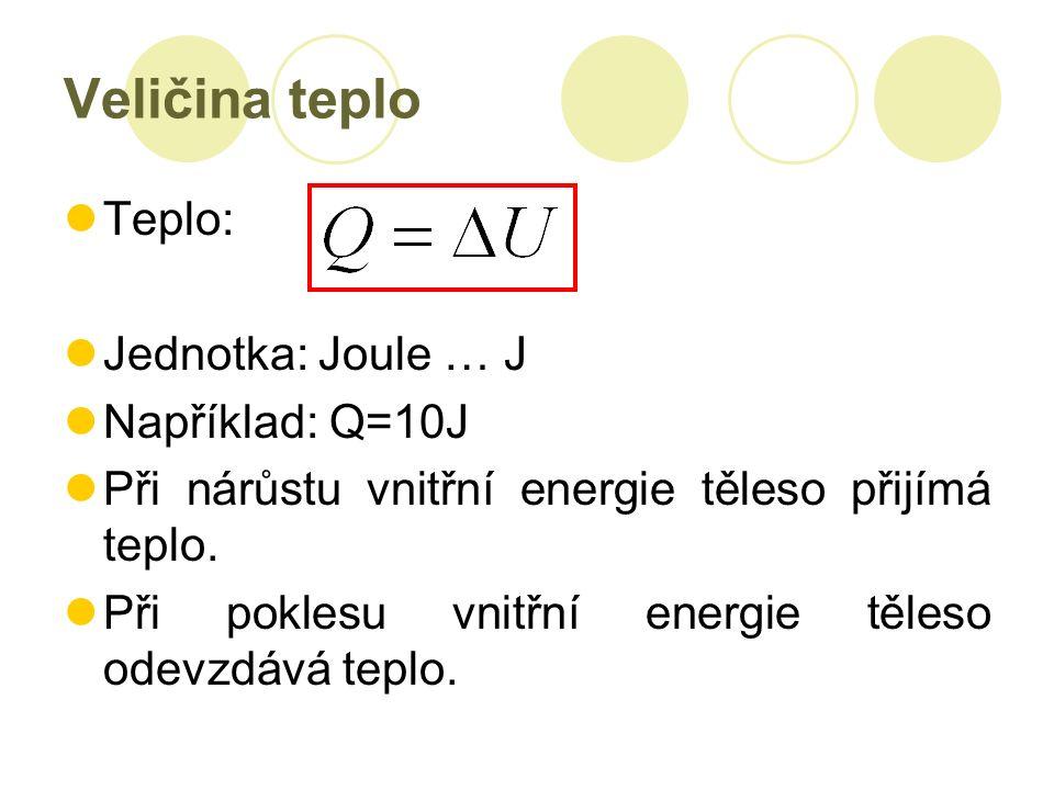 Veličina teplo Teplo: Jednotka: Joule … J Například: Q=10J Při nárůstu vnitřní energie těleso přijímá teplo.