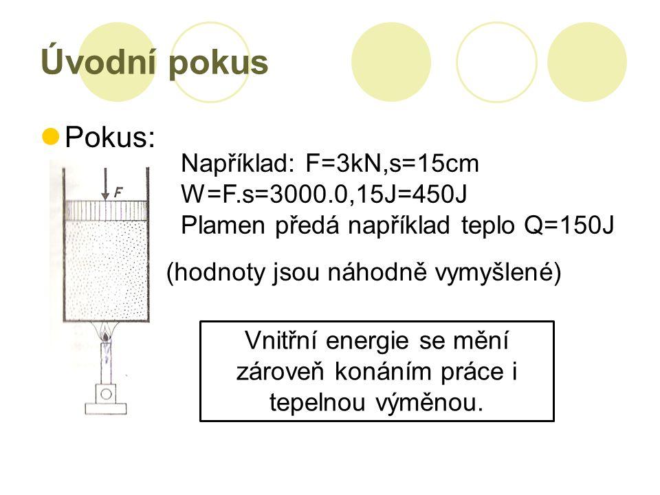 Úvodní pokus Pokus: Například: F=3kN,s=15cm W=F.s=3000.0,15J=450J Plamen předá například teplo Q=150J (hodnoty jsou náhodně vymyšlené) Vnitřní energie se mění zároveň konáním práce i tepelnou výměnou.
