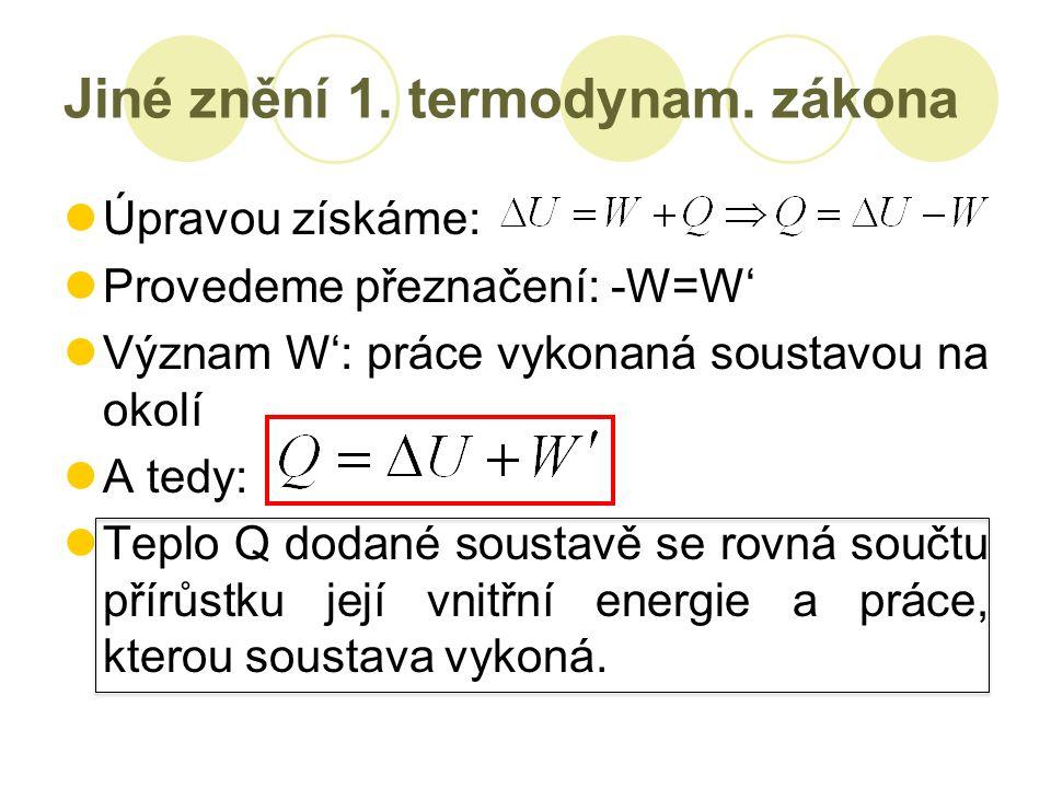 Jiné znění 1. termodynam.