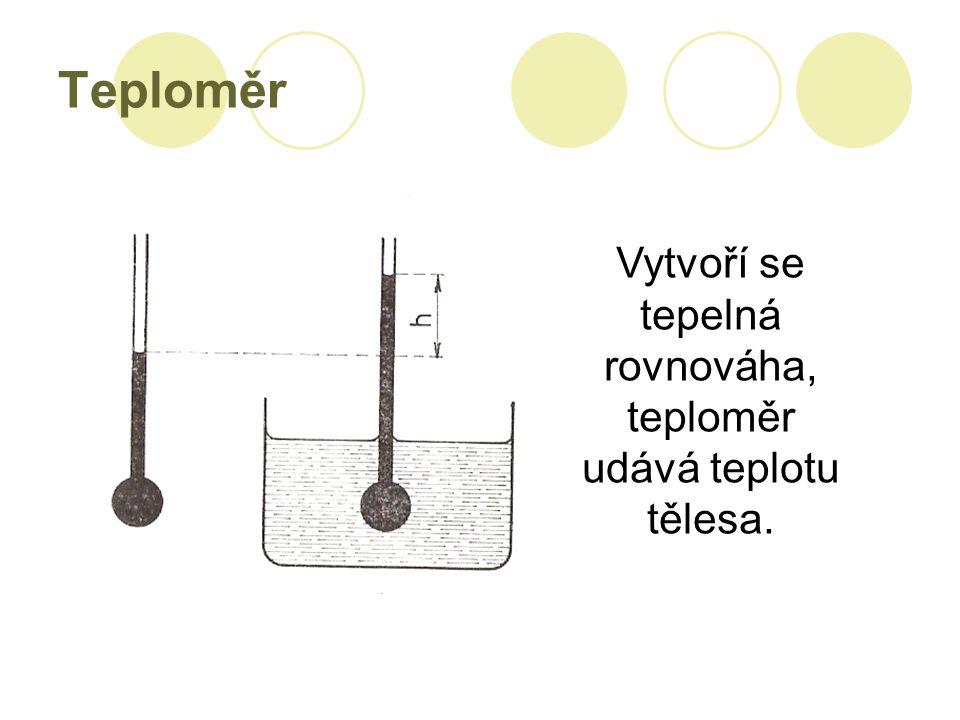 Teploměr Vytvoří se tepelná rovnováha, teploměr udává teplotu tělesa.