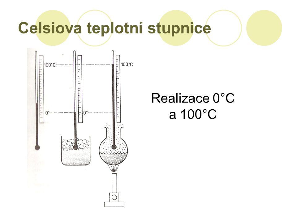 Celsiova teplotní stupnice Realizace 0°C a 100°C