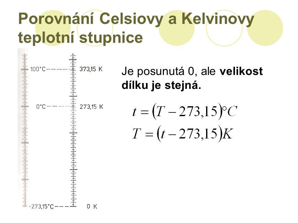 Porovnání Celsiovy a Kelvinovy teplotní stupnice Je posunutá 0, ale velikost dílku je stejná.