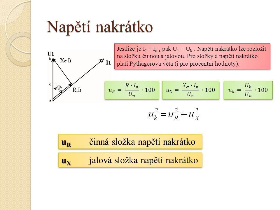 Napětí nakrátko Jestliže je I 1 = I n, pak U 1 = U k. Napětí nakrátko lze rozložit na složku činnou a jalovou. Pro složky a napětí nakrátko platí Pyth
