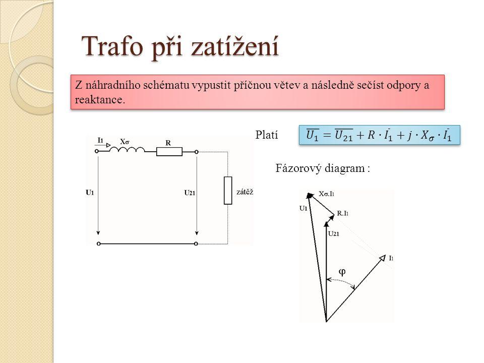 Trafo při zatížení Platí Fázorový diagram : Z náhradního schématu vypustit příčnou větev a následně sečíst odpory a reaktance.