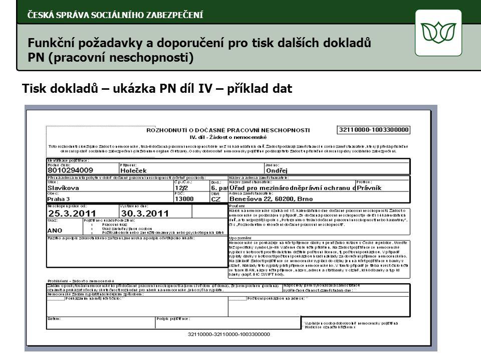 ČESKÁ SPRÁVA SOCIÁLNÍHO ZABEZPEČENÍ Tisk dokladů – ukázka PN díl IV – příklad dat Funkční požadavky a doporučení pro tisk dalších dokladů PN (pracovní neschopnosti)