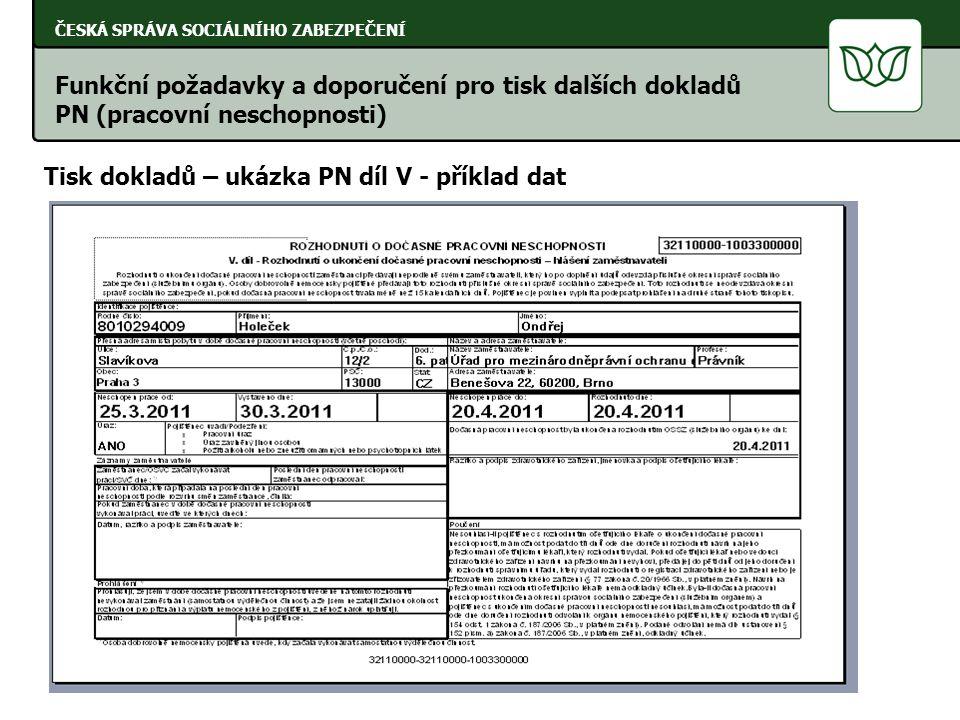 ČESKÁ SPRÁVA SOCIÁLNÍHO ZABEZPEČENÍ Tisk dokladů – ukázka PN díl V - příklad dat Funkční požadavky a doporučení pro tisk dalších dokladů PN (pracovní neschopnosti)