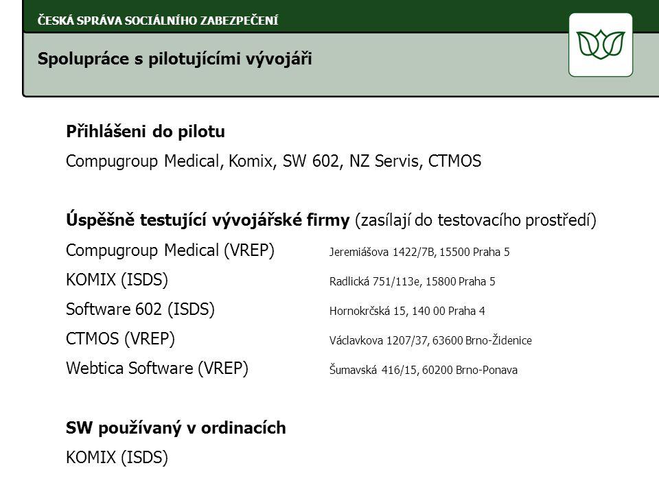Spolupráce s pilotujícími vývojáři ČESKÁ SPRÁVA SOCIÁLNÍHO ZABEZPEČENÍ Přihlášeni do pilotu Compugroup Medical, Komix, SW 602, NZ Servis, CTMOS Úspěšně testující vývojářské firmy (zasílají do testovacího prostředí) Compugroup Medical (VREP) Jeremiášova 1422/7B, 15500 Praha 5 KOMIX (ISDS) Radlická 751/113e, 15800 Praha 5 Software 602 (ISDS) Hornokrčská 15, 140 00 Praha 4 CTMOS (VREP) Václavkova 1207/37, 63600 Brno-Židenice Webtica Software (VREP) Šumavská 416/15, 60200 Brno-Ponava SW používaný v ordinacích KOMIX (ISDS)