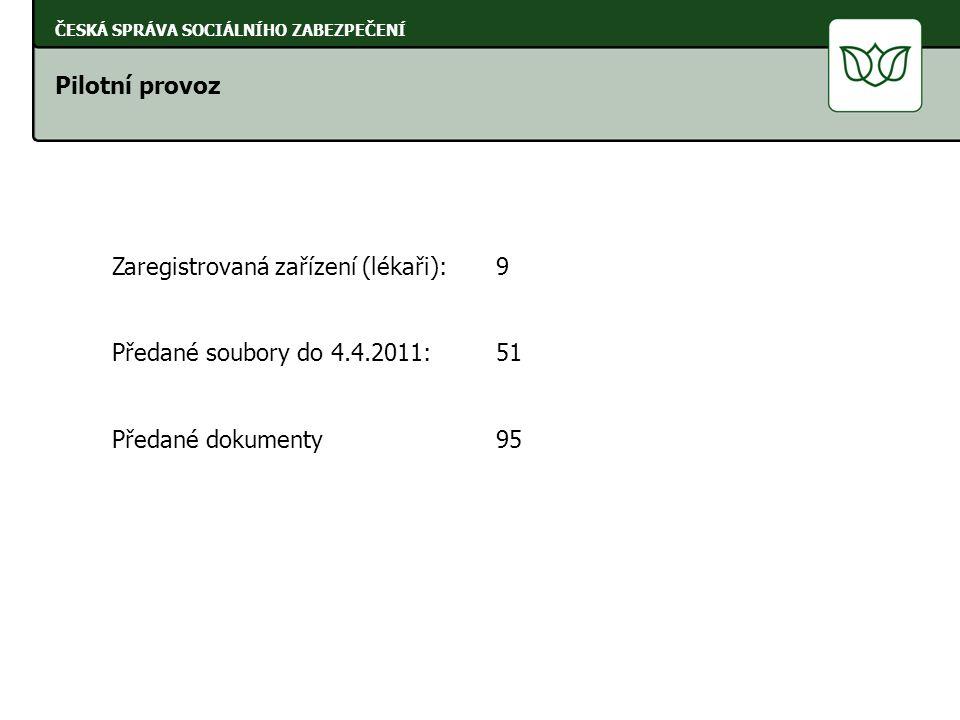 Pilotní provoz ČESKÁ SPRÁVA SOCIÁLNÍHO ZABEZPEČENÍ Zaregistrovaná zařízení (lékaři): 9 Předané soubory do 4.4.2011: 51 Předané dokumenty 95