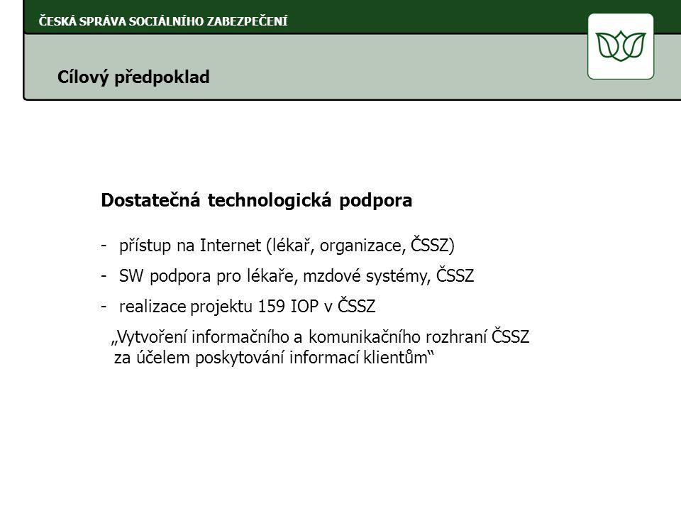 """ČESKÁ SPRÁVA SOCIÁLNÍHO ZABEZPEČENÍ Cílový předpoklad Dostatečná technologická podpora - přístup na Internet (lékař, organizace, ČSSZ) - SW podpora pro lékaře, mzdové systémy, ČSSZ - realizace projektu 159 IOP v ČSSZ """"Vytvoření informačního a komunikačního rozhraní ČSSZ za účelem poskytování informací klientům"""