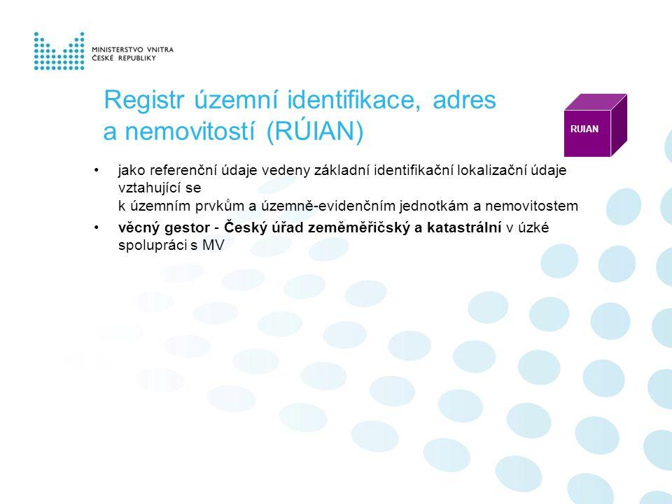 Registr územní identifikace, adres a nemovitostí (RÚIAN) jako referenční údaje vedeny základní identifikační lokalizační údaje vztahující se k územním prvkům a územně-evidenčním jednotkám a nemovitostem věcný gestor - Český úřad zeměměřičský a katastrální v úzké spolupráci s MV RUIAN