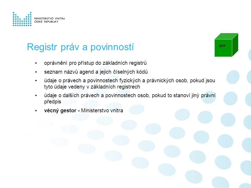 oprávnění pro přístup do základních registrů seznam názvů agend a jejich číselných kódů údaje o právech a povinnostech fyzických a právnických osob, pokud jsou tyto údaje vedeny v základních registrech údaje o dalších právech a povinnostech osob, pokud to stanoví jiný právní předpis věcný gestor - Ministerstvo vnitra RPP Registr práv a povinností