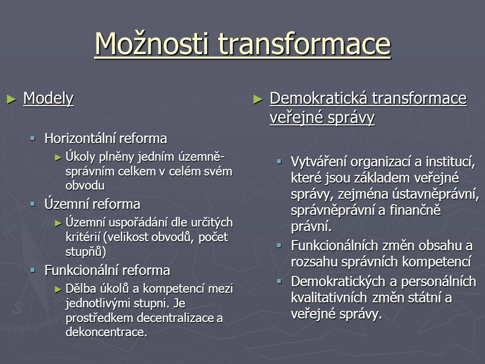 Možnosti transformace ► Demokratická transformace veřejné správy  Vytváření organizací a institucí, které jsou základem veřejné správy, zejména ústav