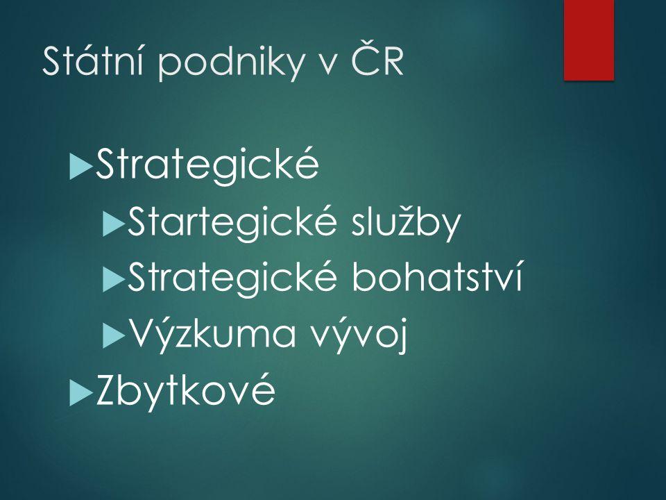 Státní podniky v ČR  Strategické  Startegické služby  Strategické bohatství  Výzkuma vývoj  Zbytkové