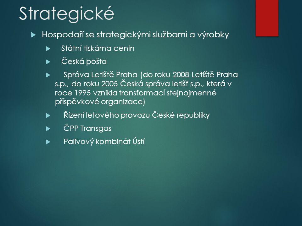 Strategické  Hospodaří se strategickými službami a výrobky  Státní tiskárna cenin  Česká pošta  Správa Letiště Praha (do roku 2008 Letiště Praha s