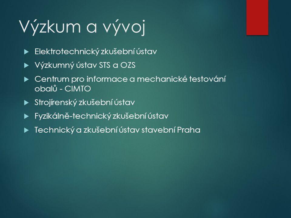 Výzkum a vývoj  Elektrotechnický zkušební ústav  Výzkumný ústav STS a OZS  Centrum pro informace a mechanické testování obalů - CIMTO  Strojírensk