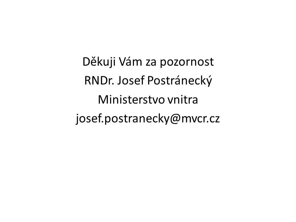 Děkuji Vám za pozornost RNDr. Josef Postránecký Ministerstvo vnitra josef.postranecky@mvcr.cz