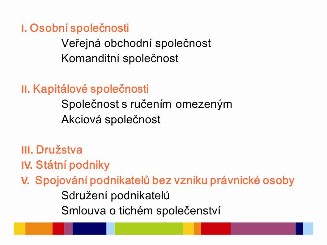 I. Osobní společnosti Veřejná obchodní společnost Komanditní společnost II.