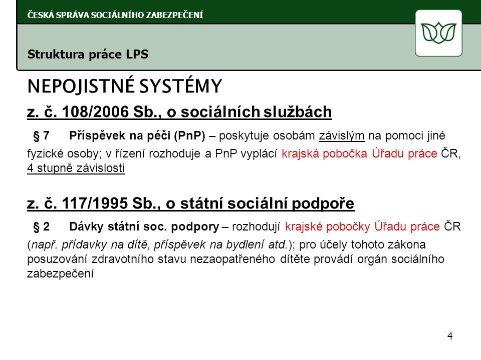 NEPOJISTNÉ SYSTÉMY z. č. 108/2006 Sb., o sociálních službách § 7Příspěvek na péči (PnP) – poskytuje osobám závislým na pomoci jiné fyzické osoby; v ří