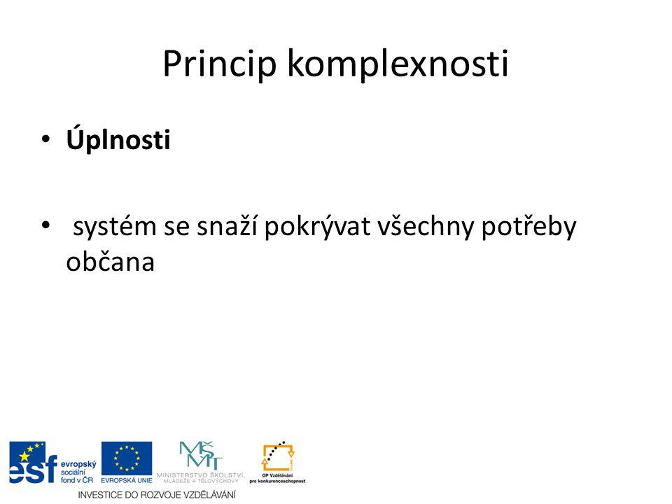 Princip komplexnosti Úplnosti systém se snaží pokrývat všechny potřeby občana