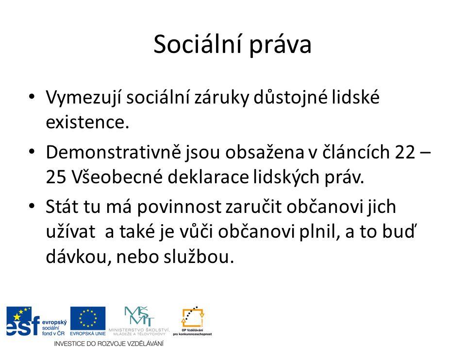 Sociální práva Vymezují sociální záruky důstojné lidské existence.