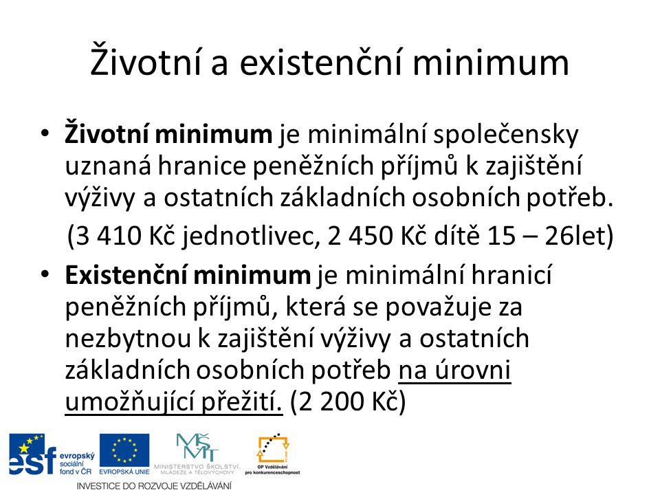 Životní a existenční minimum Životní minimum je minimální společensky uznaná hranice peněžních příjmů k zajištění výživy a ostatních základních osobních potřeb.