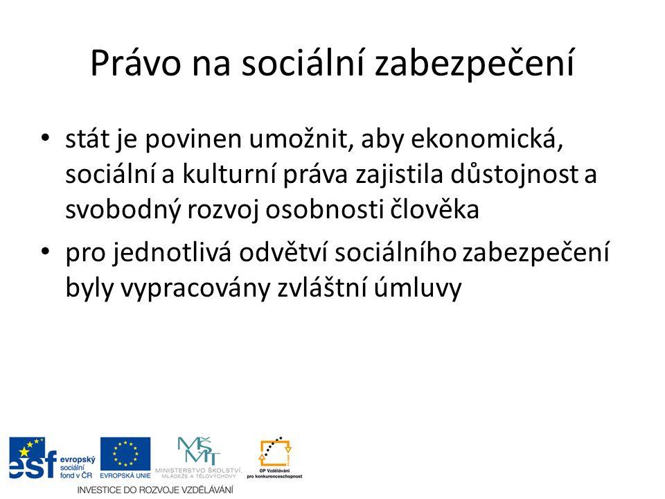 Právo na sociální zabezpečení stát je povinen umožnit, aby ekonomická, sociální a kulturní práva zajistila důstojnost a svobodný rozvoj osobnosti člověka pro jednotlivá odvětví sociálního zabezpečení byly vypracovány zvláštní úmluvy