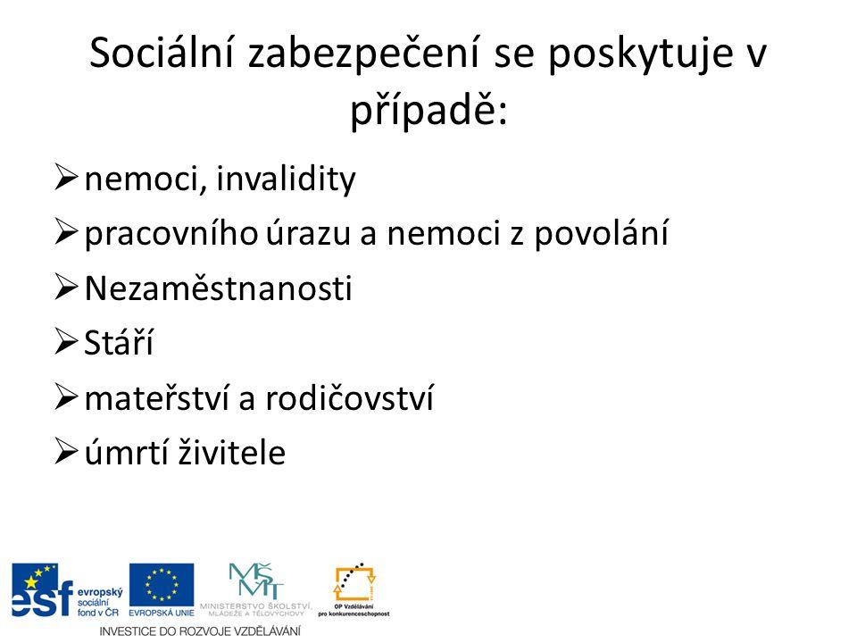 Sociální zabezpečení se poskytuje v případě:  nemoci, invalidity  pracovního úrazu a nemoci z povolání  Nezaměstnanosti  Stáří  mateřství a rodičovství  úmrtí živitele