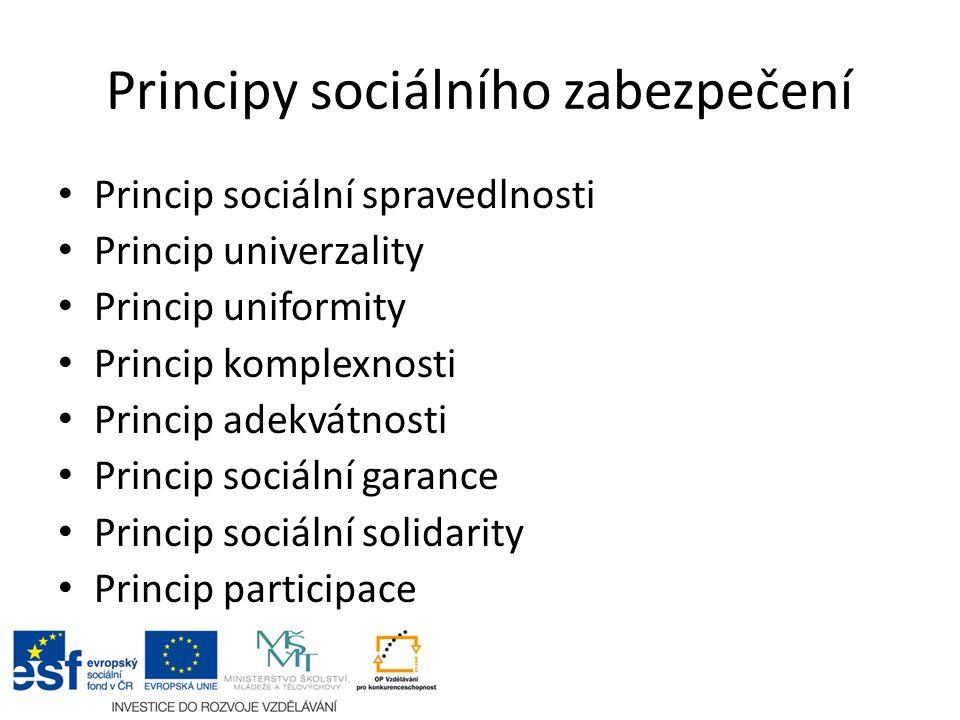 Principy sociálního zabezpečení Princip sociální spravedlnosti Princip univerzality Princip uniformity Princip komplexnosti Princip adekvátnosti Princip sociální garance Princip sociální solidarity Princip participace