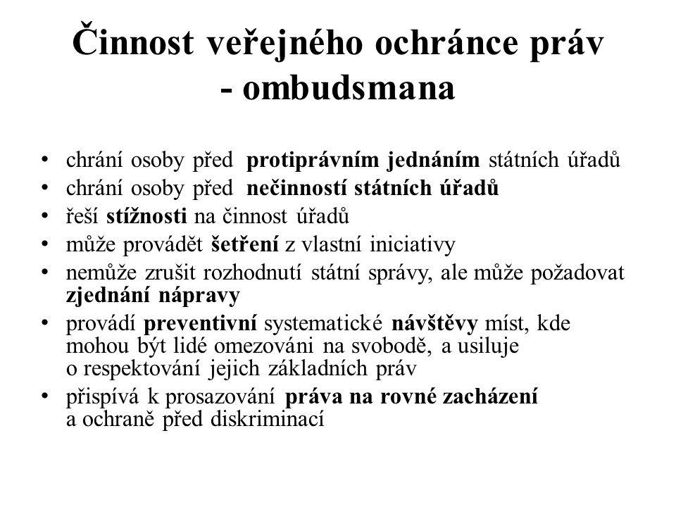 Činnost veřejného ochránce práv - ombudsmana chrání osoby před protiprávním jednáním státních úřadů chrání osoby před nečinností státních úřadů řeší s