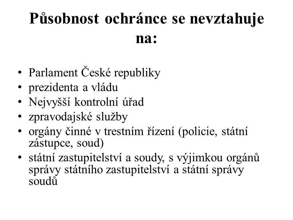 Působnost ochránce se nevztahuje na: Parlament České republiky prezidenta a vládu Nejvyšší kontrolní úřad zpravodajské služby orgány činné v trestním
