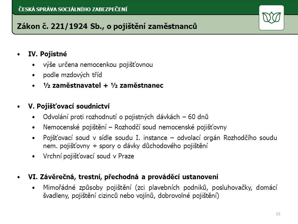 Zákon č. 221/1924 Sb., o pojištění zaměstnanců IV.