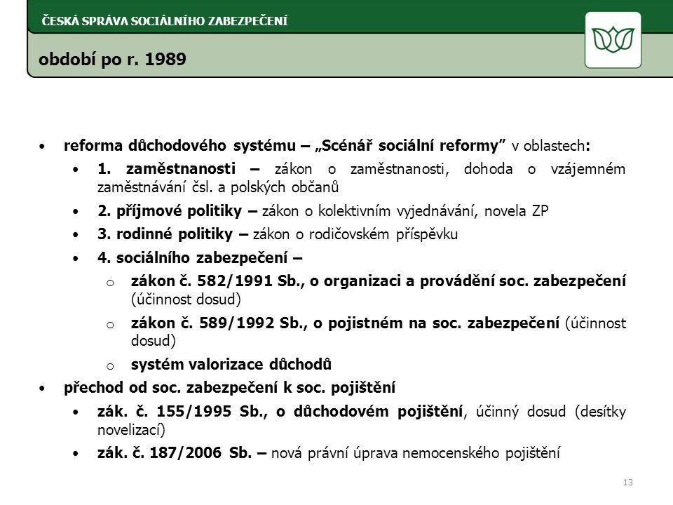 """období po r. 1989 reforma důchodového systému – """"Scénář sociální reformy v oblastech: 1."""