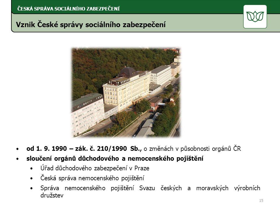 Vznik České správy sociálního zabezpečení od 1. 9.